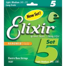 Elixir 14207 Nanoweb 45-135 Light/Medium Long Scale